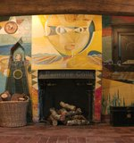 Fireplace mural in dining room at Farleys House