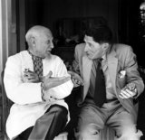 Picasso & Roland Penrose conversing in French