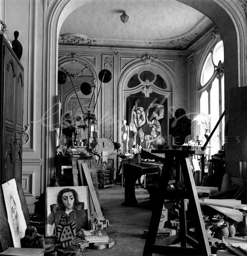 Picasso's studio, villa la Californie, Cannes, France 1957 by Lee Miller